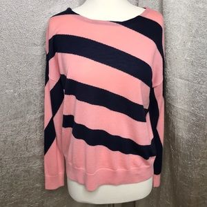 Ann Taylor Wool Pink Blue Slant Stripe Sweater Med
